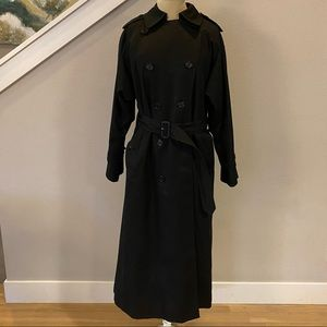 Burberry Black Lined Wool Cotton Trench Coat